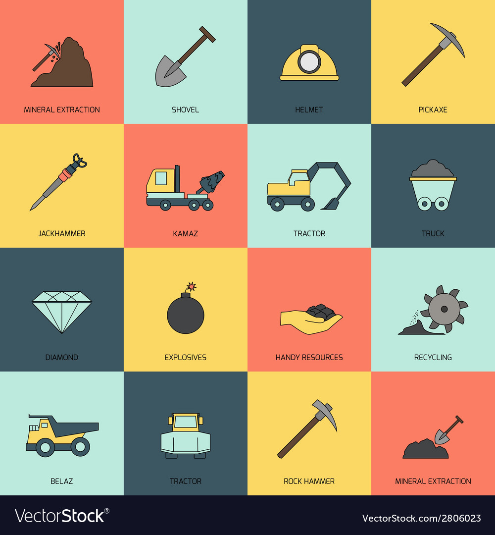 Mining icons line flat vector | Price: 1 Credit (USD $1)
