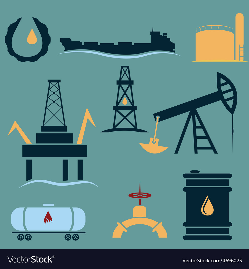 Oil industry icons setflat design vector | Price: 1 Credit (USD $1)