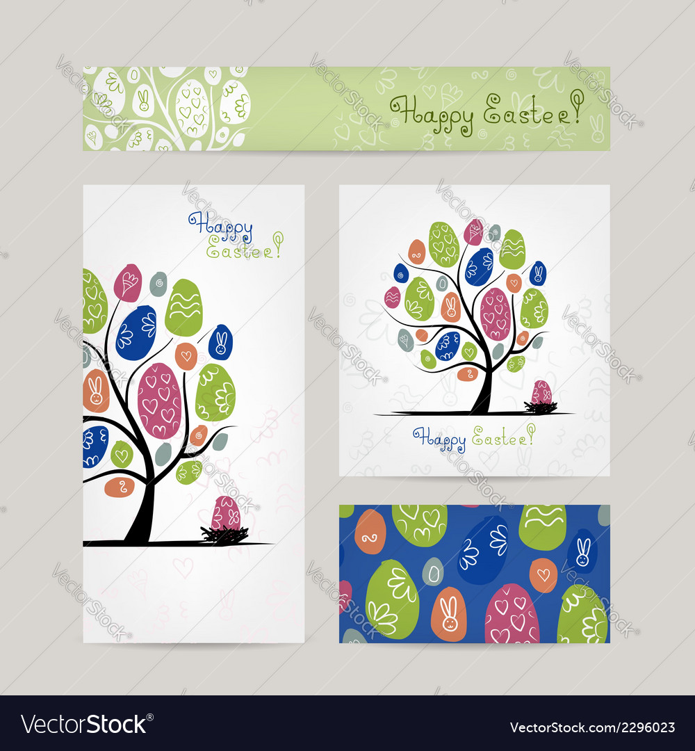 Postcards design with easter tree vector | Price: 1 Credit (USD $1)