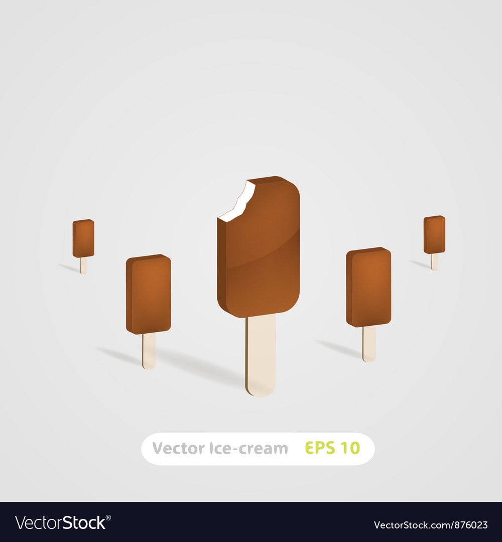 Set of chocolate ice-cream dessert on wooden stick vector | Price: 1 Credit (USD $1)