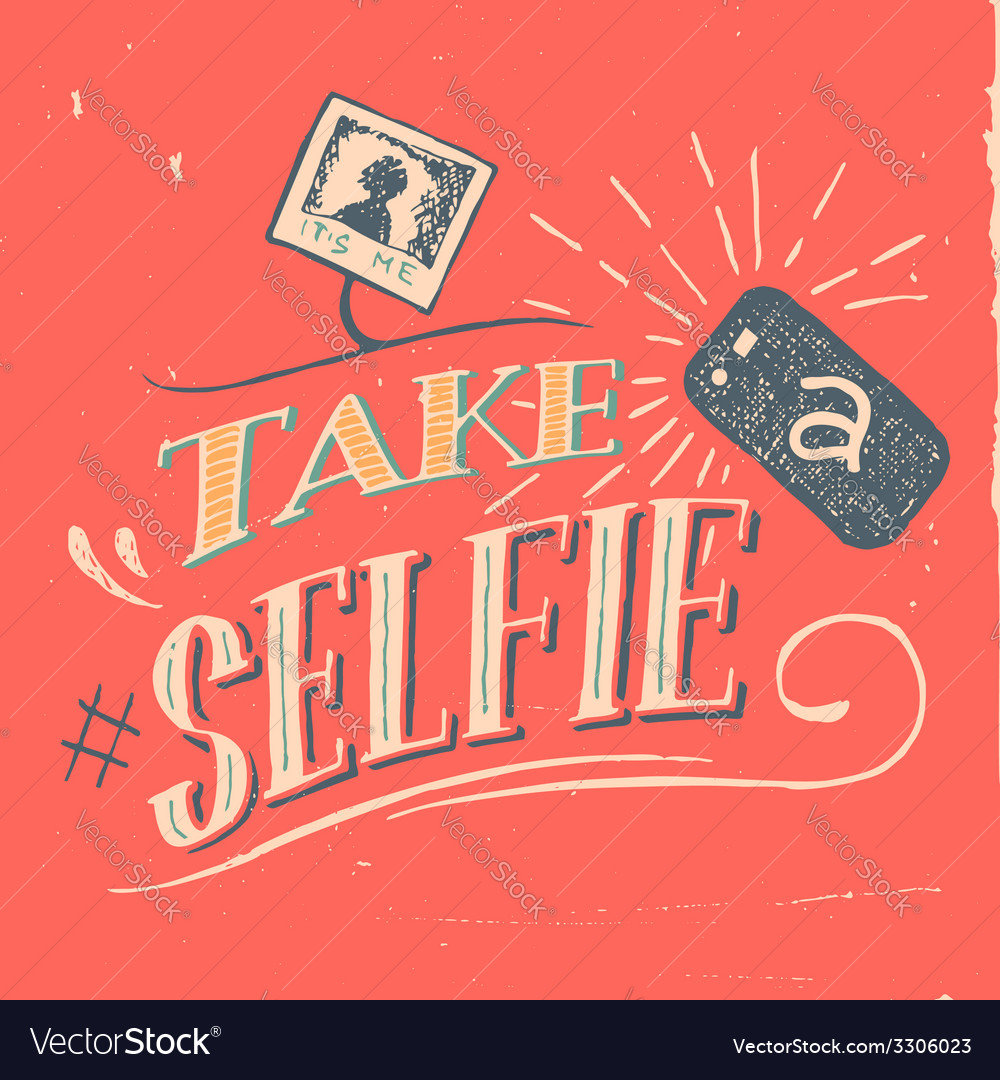 Take a selfie poster vector | Price: 1 Credit (USD $1)
