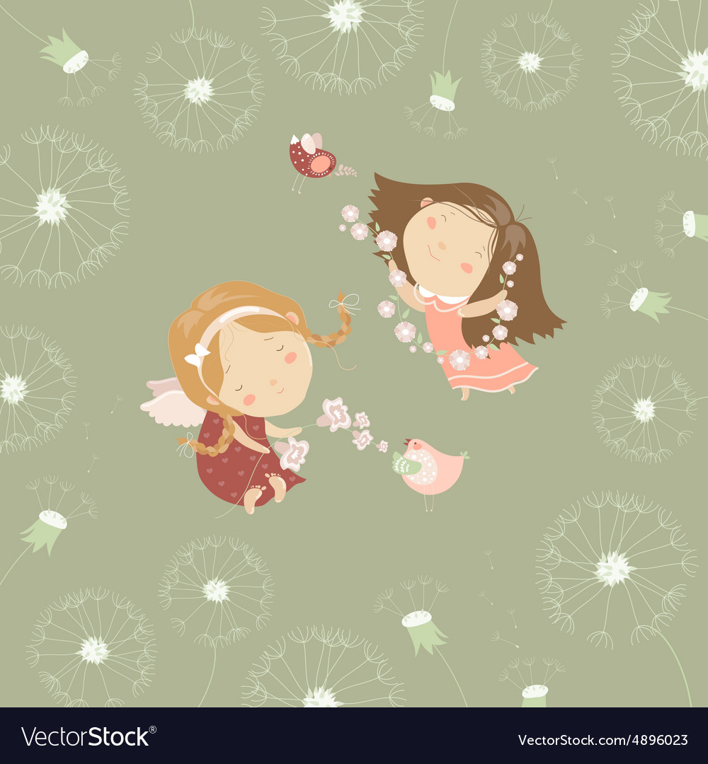 Two little angels with flowers vector