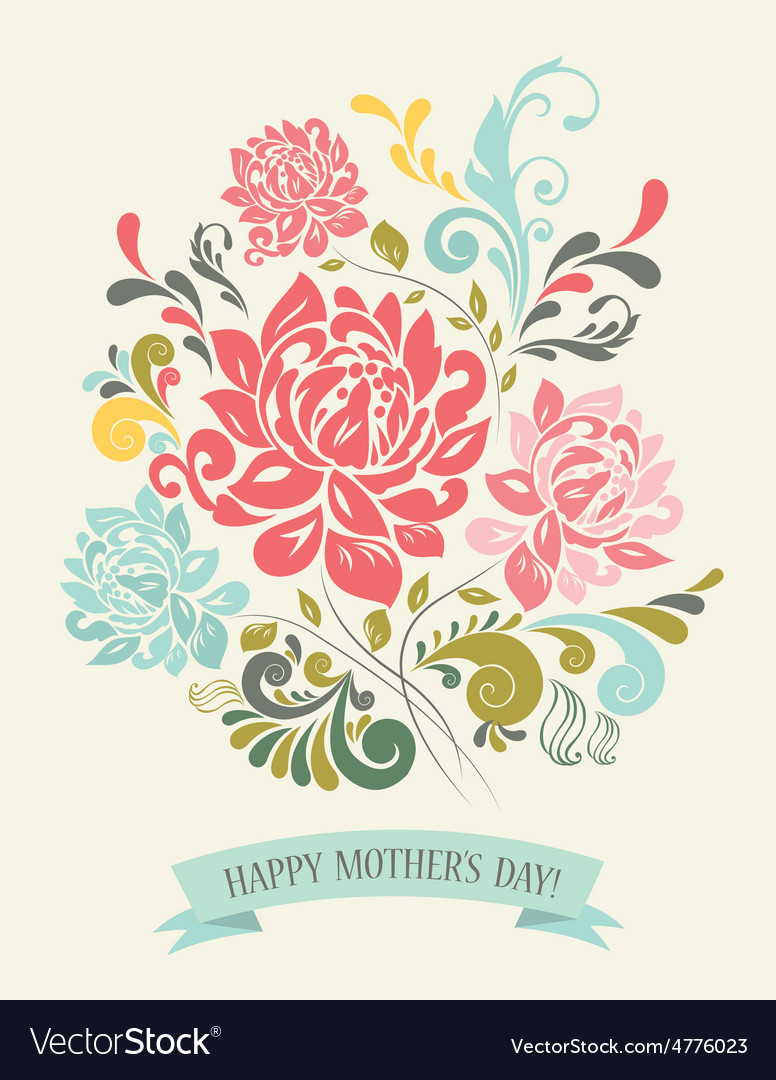Vintage greeting card with decorative flowers vector   Price: 1 Credit (USD $1)
