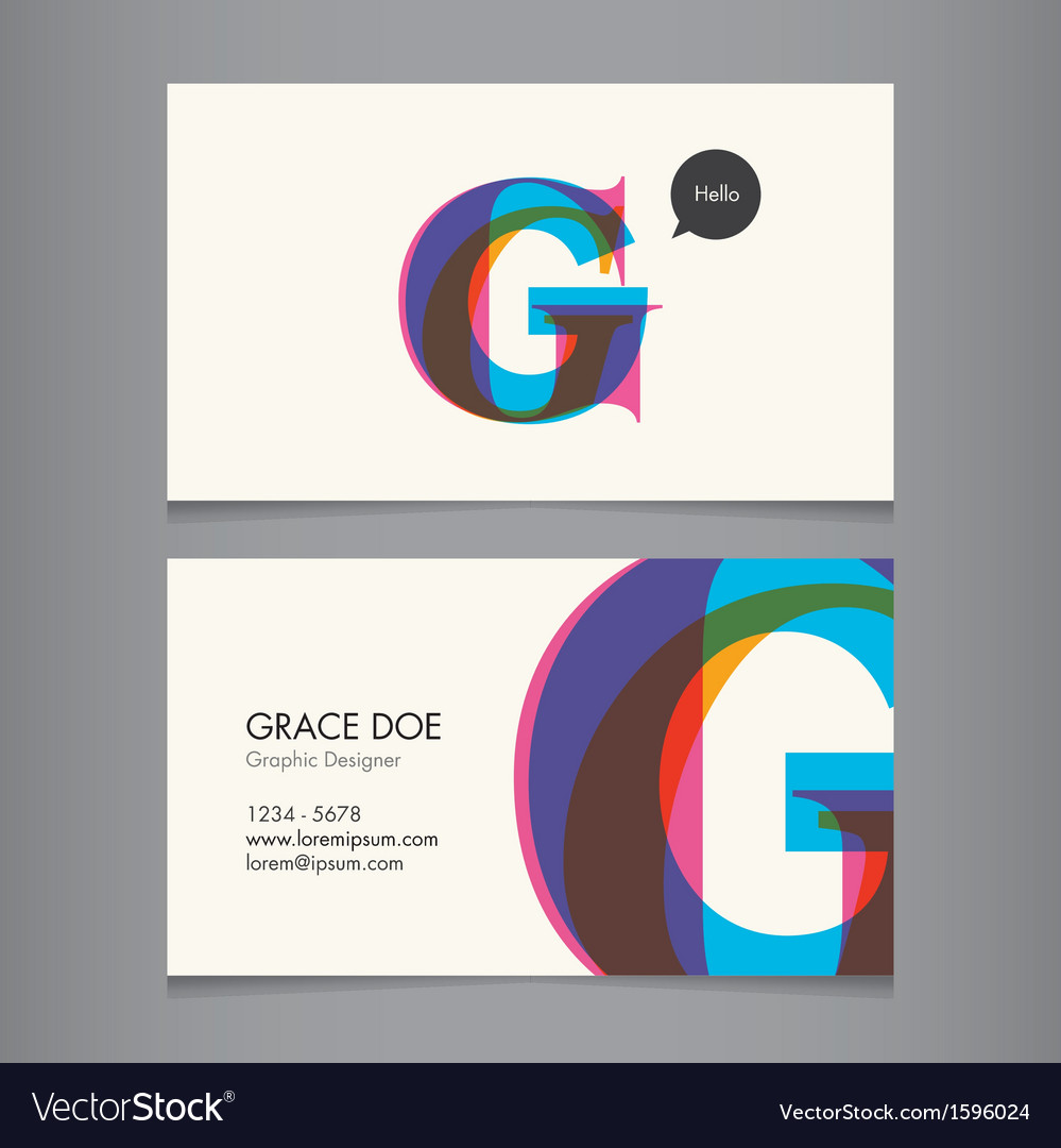 Business card template letter g vector | Price: 1 Credit (USD $1)