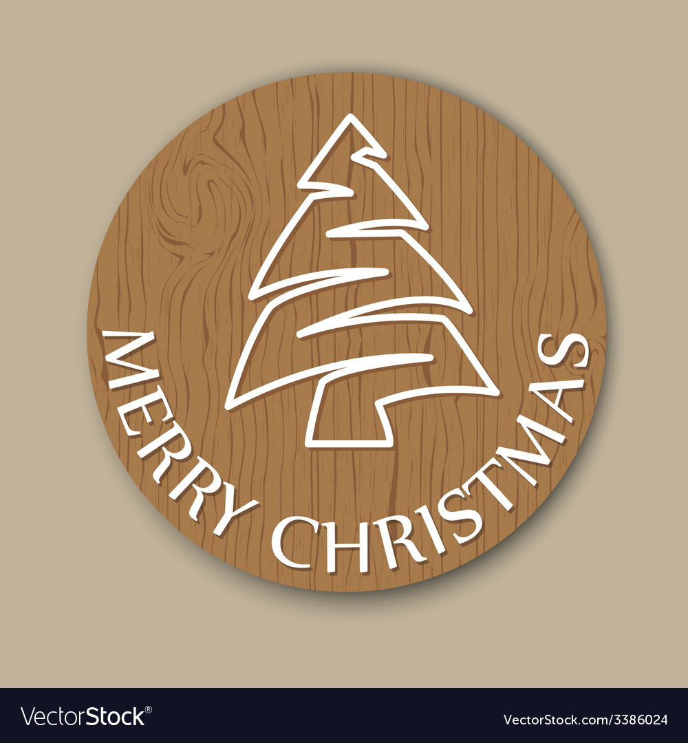 Christmas wooden round card vector | Price: 1 Credit (USD $1)