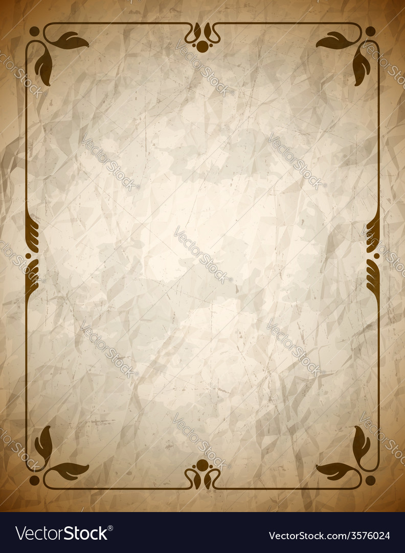 Crumpled brown frame with ornament vector | Price: 1 Credit (USD $1)