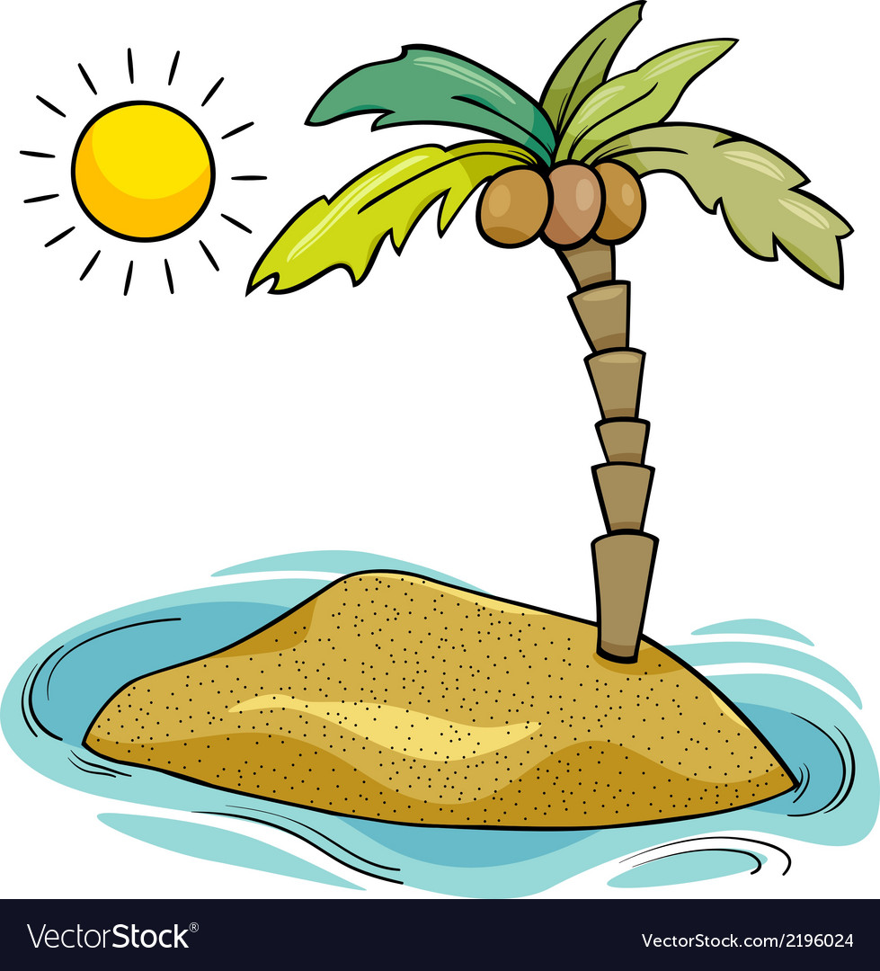 Desert island cartoon vector | Price: 1 Credit (USD $1)