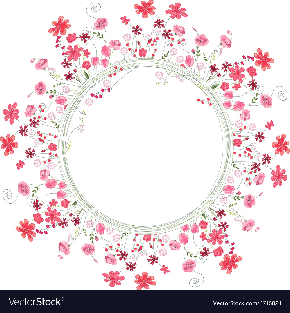 Detailed contour wreath with herbs and red flowers vector | Price: 1 Credit (USD $1)