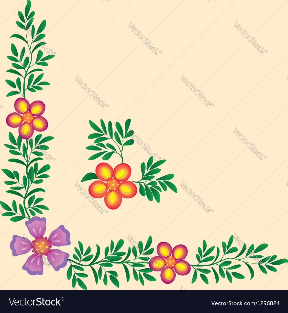 Flowers corner decoration vector | Price: 1 Credit (USD $1)