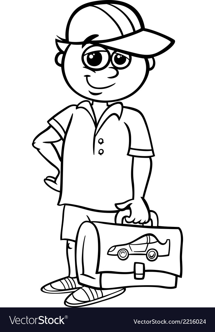Grade school student coloring book vector | Price: 1 Credit (USD $1)