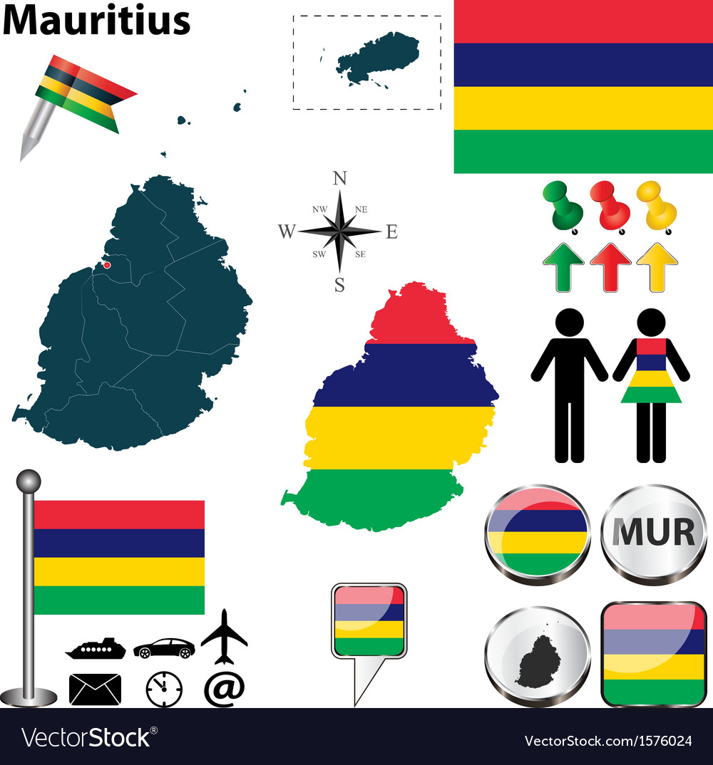Mauritius map vector | Price: 1 Credit (USD $1)