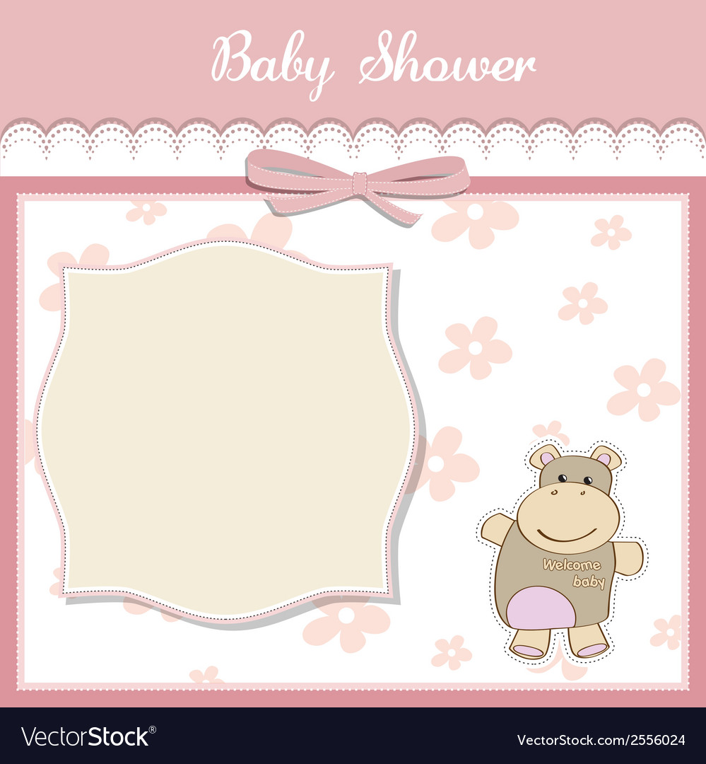 New baby girl announcement card with hippo vector | Price: 1 Credit (USD $1)