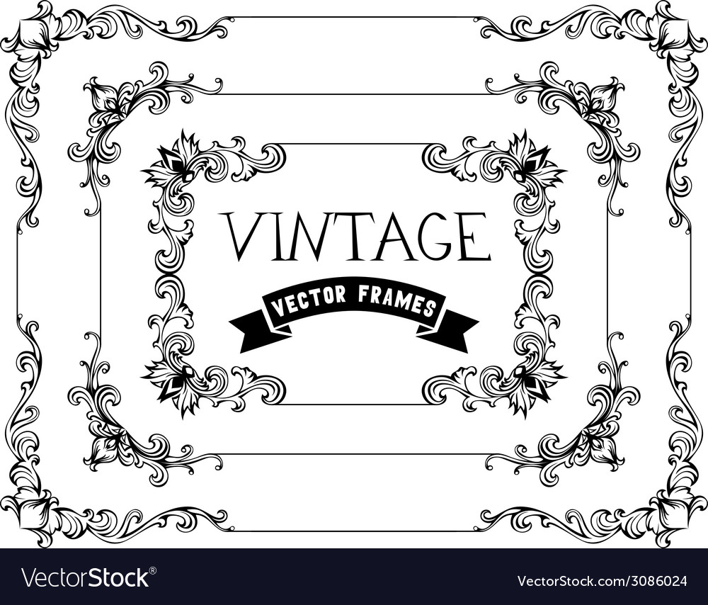 Set of hand-drawn calligraphic vintage frames vector | Price: 1 Credit (USD $1)