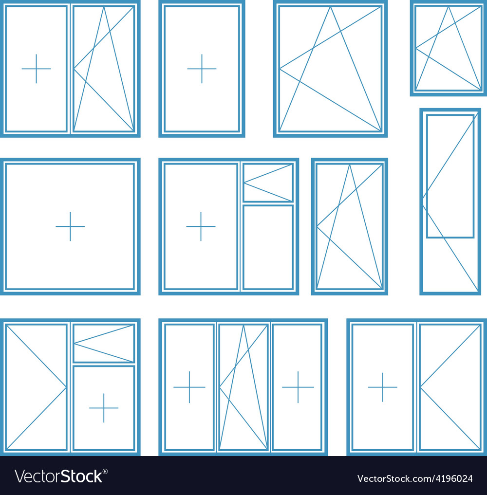 Set of plastic window frame symbol vector | Price: 1 Credit (USD $1)
