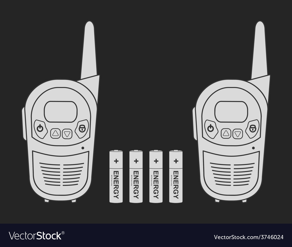 Travel radio set devices wit batteries chalk vector | Price: 1 Credit (USD $1)
