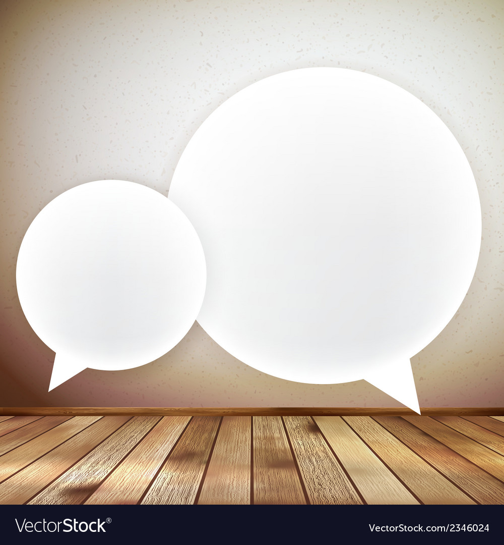 Wooden background with speech bubbles eps 10 vector | Price: 1 Credit (USD $1)