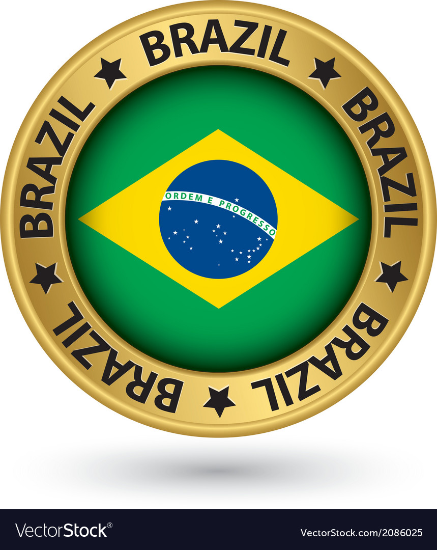Brazil gold label with flag vector | Price: 1 Credit (USD $1)