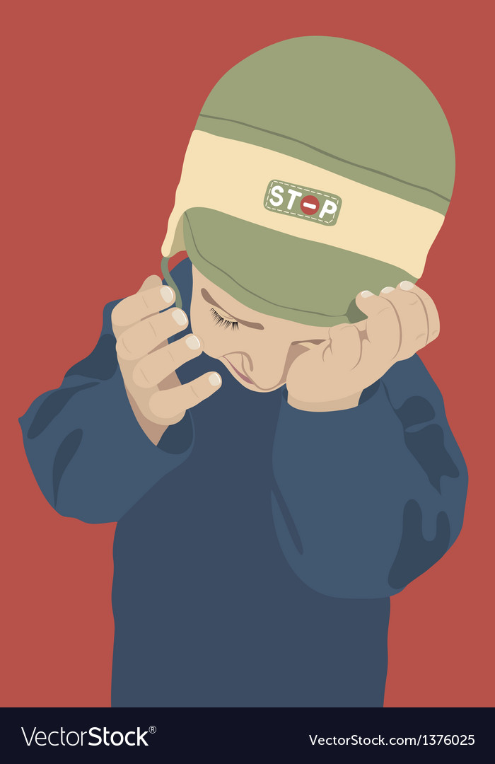 Crying kid with green cap on red background vector | Price: 1 Credit (USD $1)