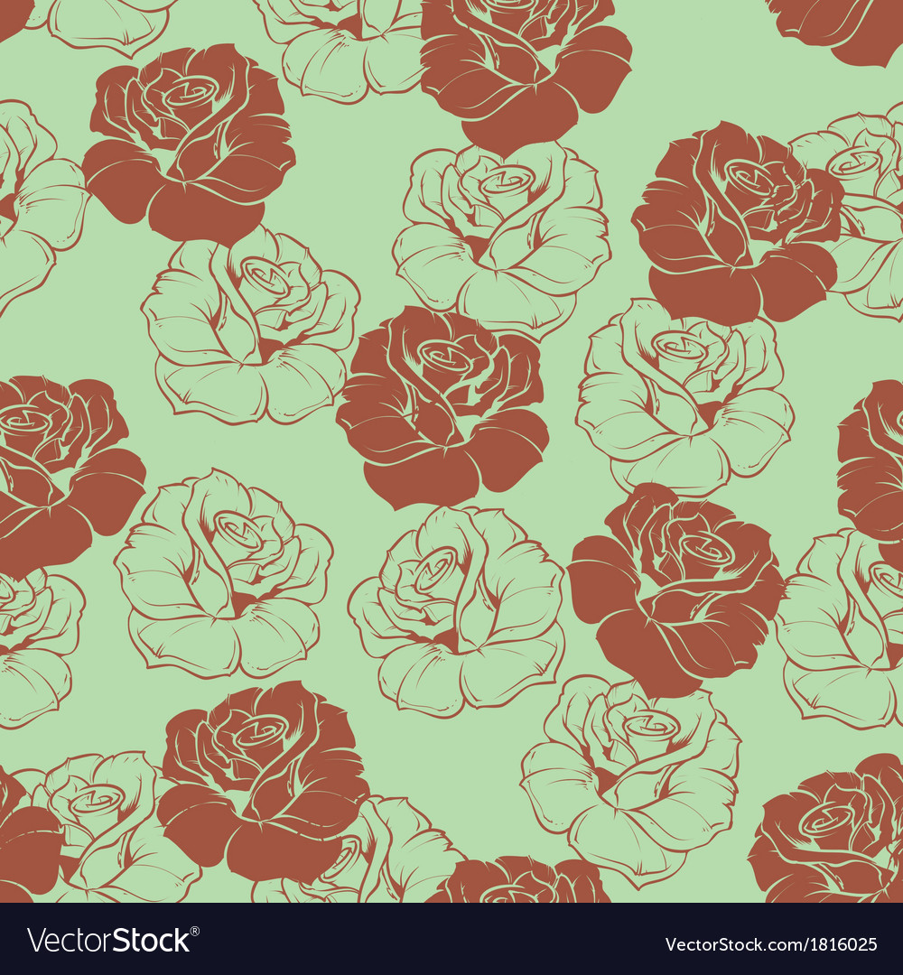 Seamless green floral pattern with brown roses vector | Price: 1 Credit (USD $1)