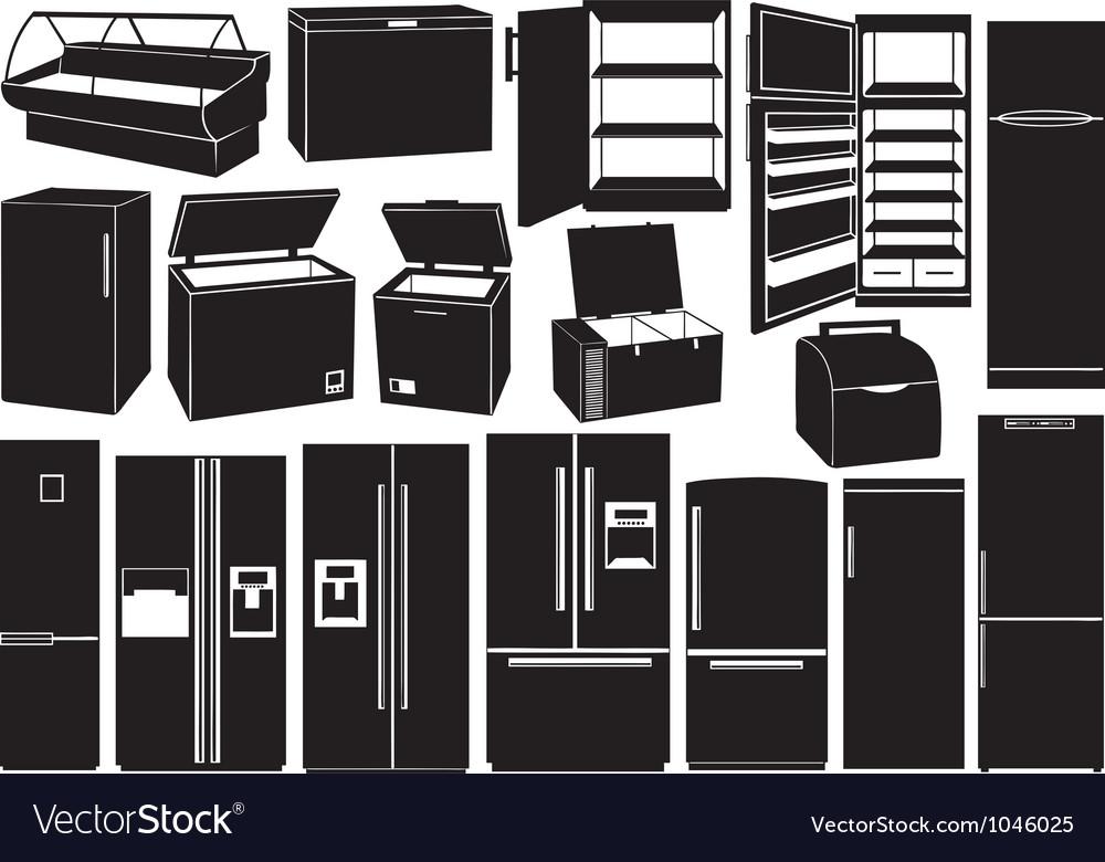 Set of different refrigerators vector | Price: 1 Credit (USD $1)