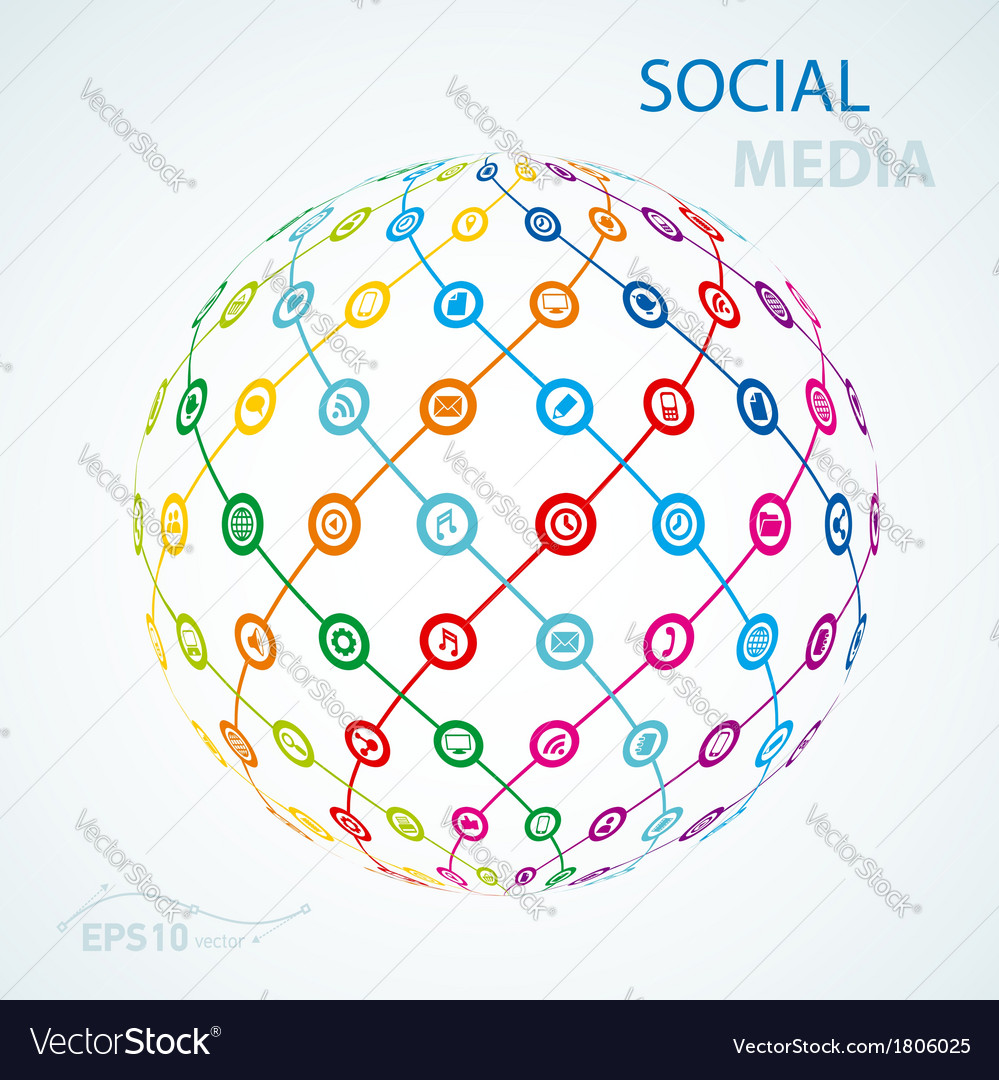 Social media element icon sheme globe worldwide vector | Price: 1 Credit (USD $1)