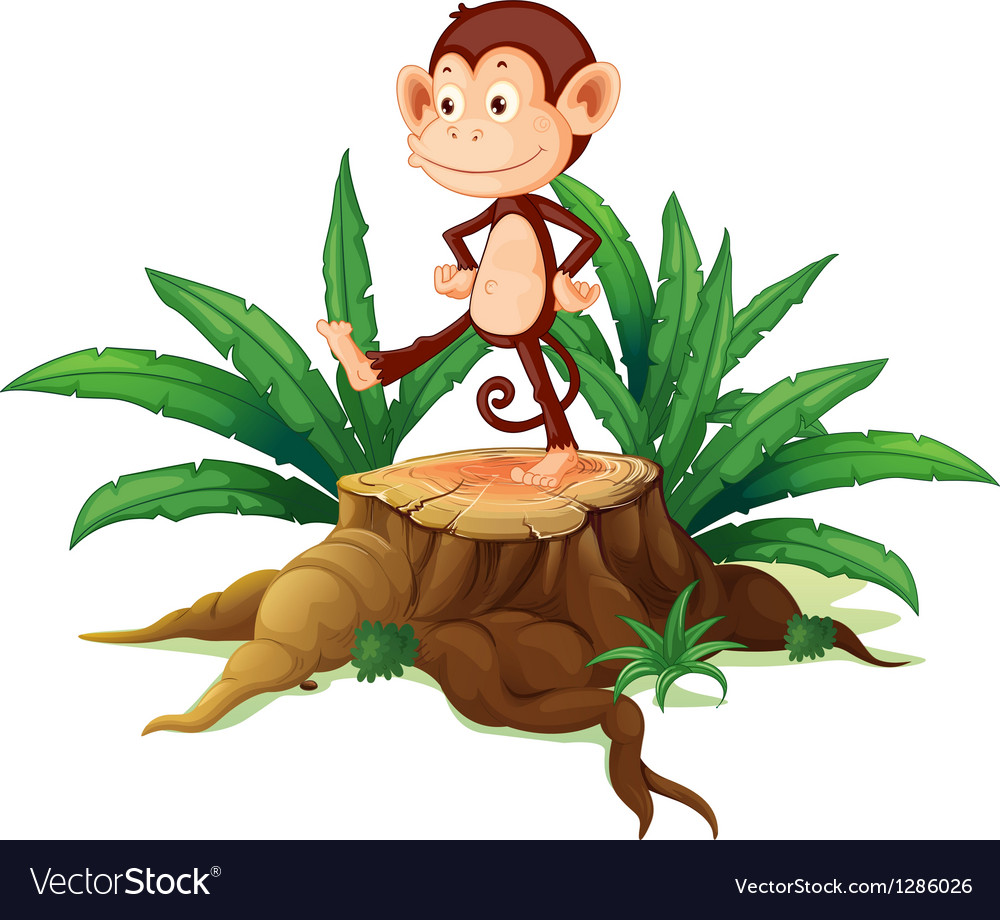 A monkey above a trunk vector | Price: 1 Credit (USD $1)