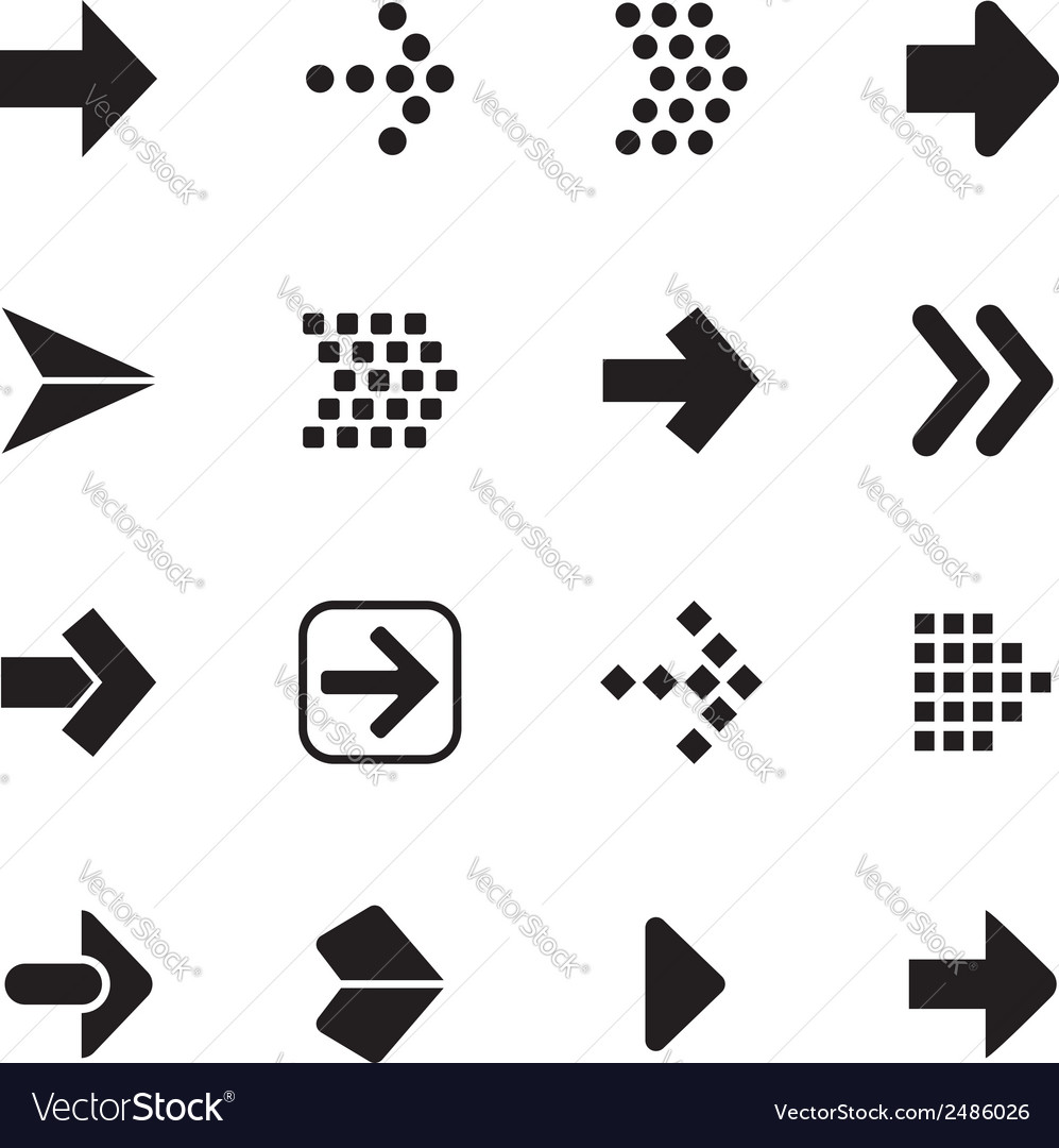 Arrow sign icon set isolated on white background vector | Price: 1 Credit (USD $1)