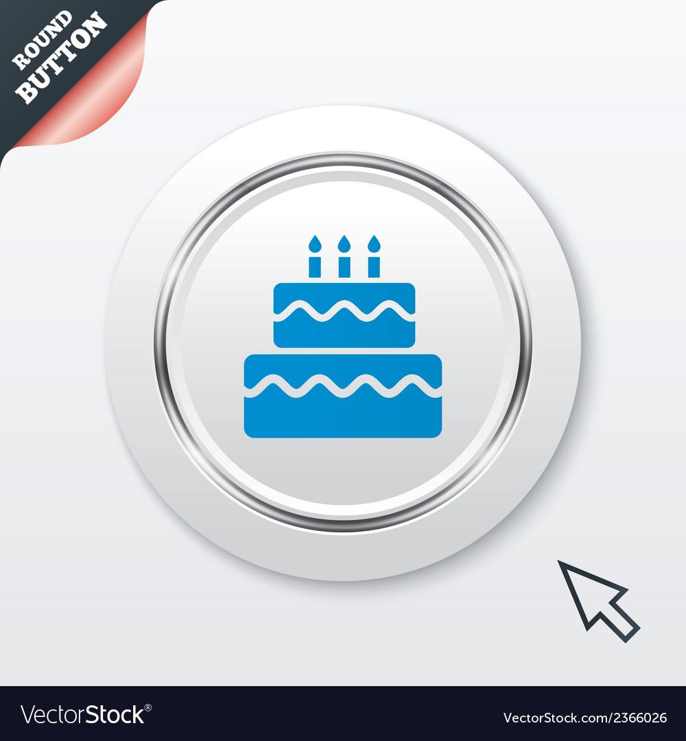 Birthday cake sign icon burning candles symbol vector | Price: 1 Credit (USD $1)