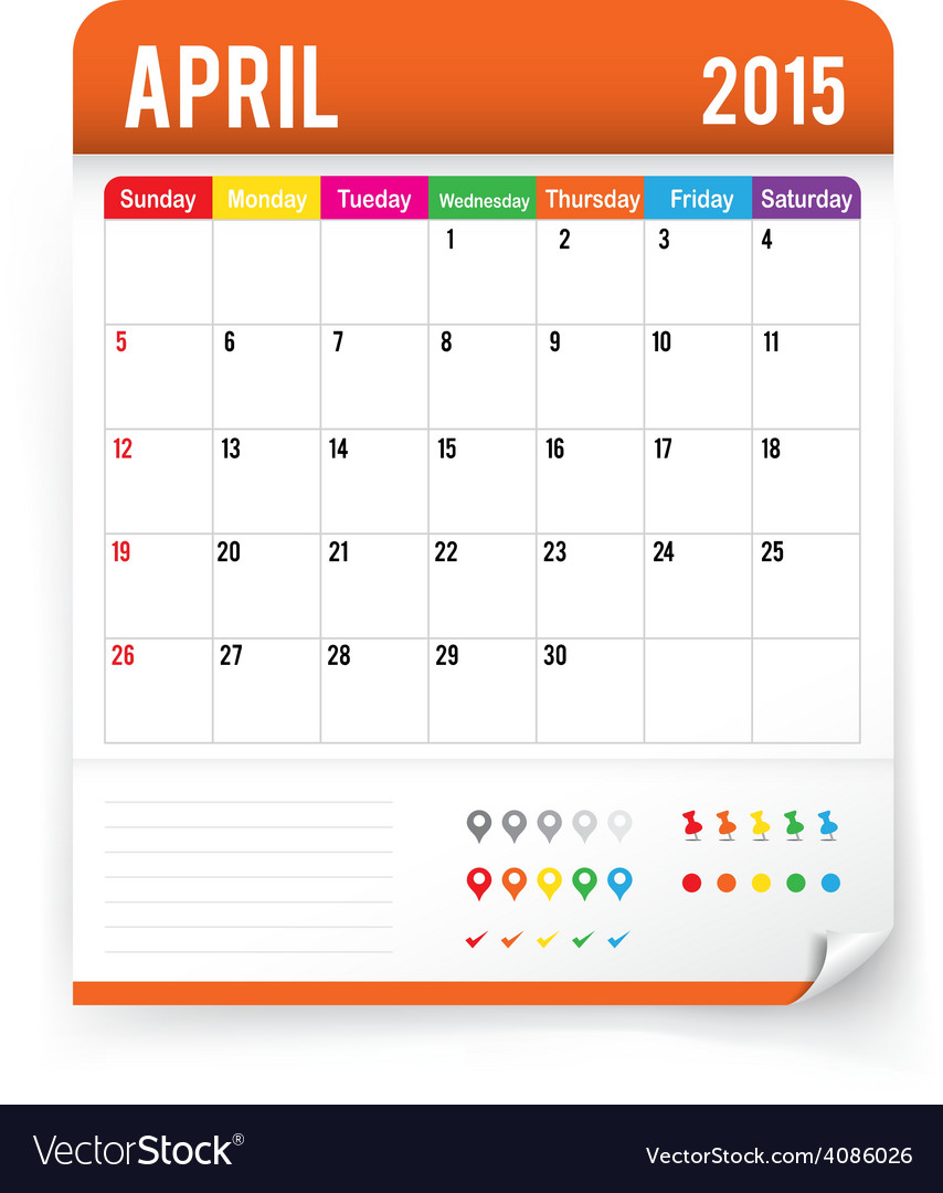 Calendar 2015 april vector | Price: 1 Credit (USD $1)