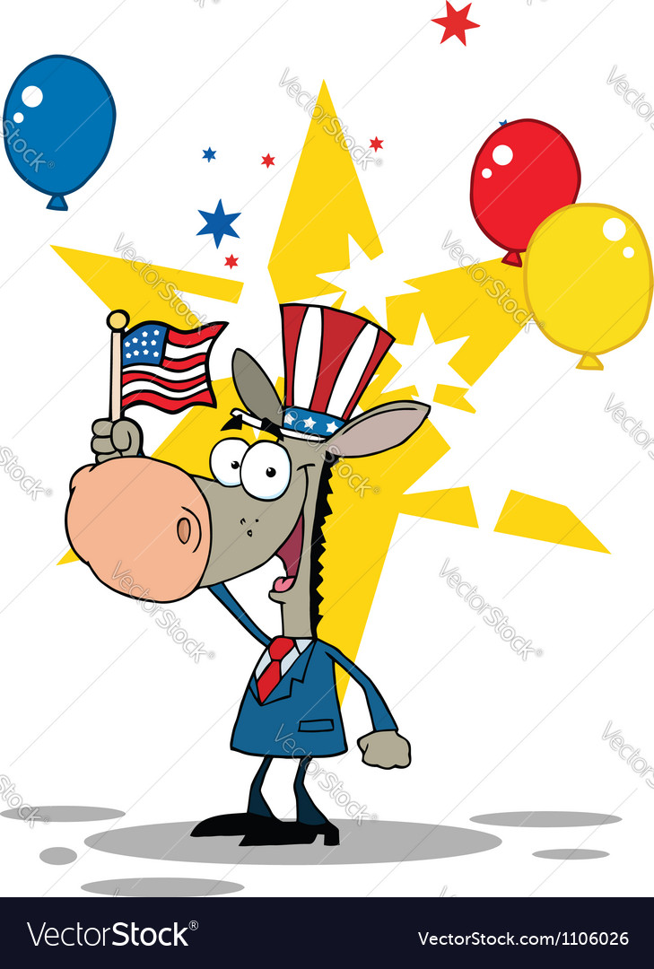 Donkey wearing a patriotic hat vector | Price: 1 Credit (USD $1)