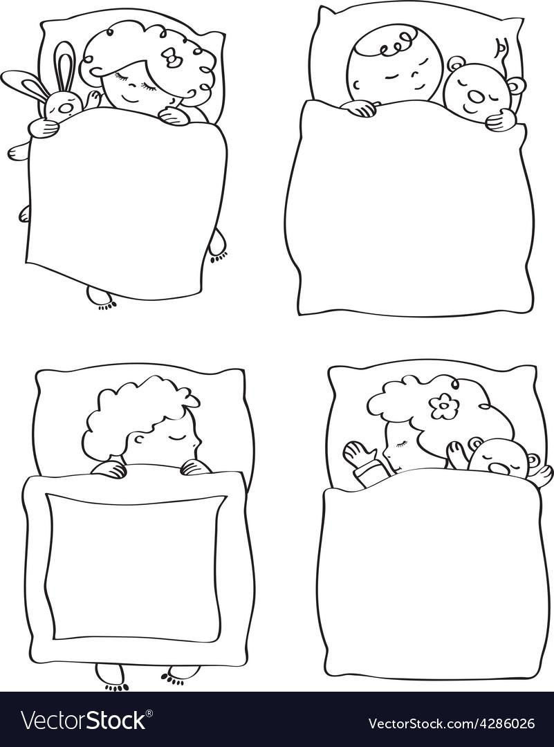Kids sleeping contour vector | Price: 3 Credit (USD $3)