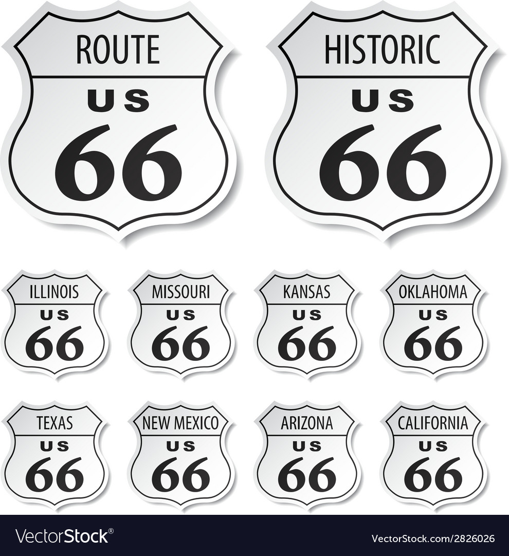 Route 66 black and white stickers vector | Price: 1 Credit (USD $1)