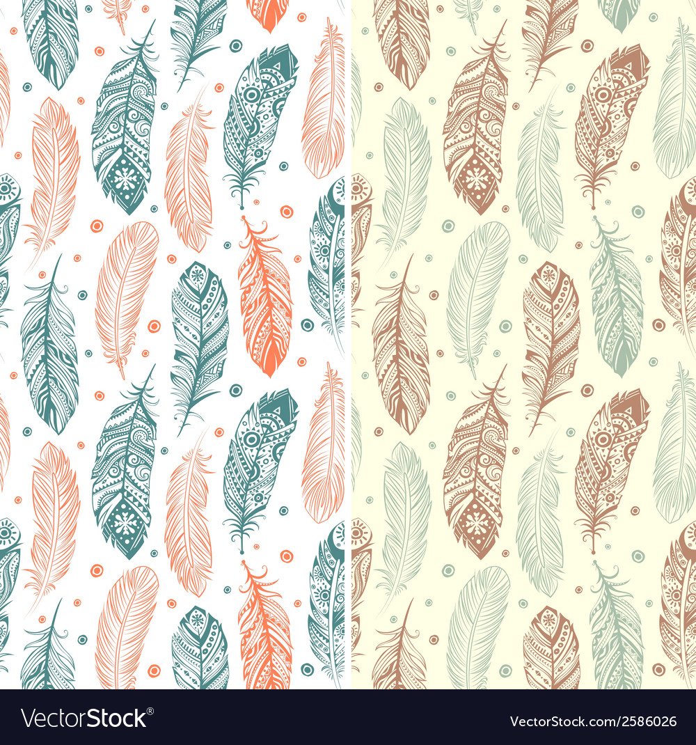 Set of ehnic feather seamless vector | Price: 1 Credit (USD $1)
