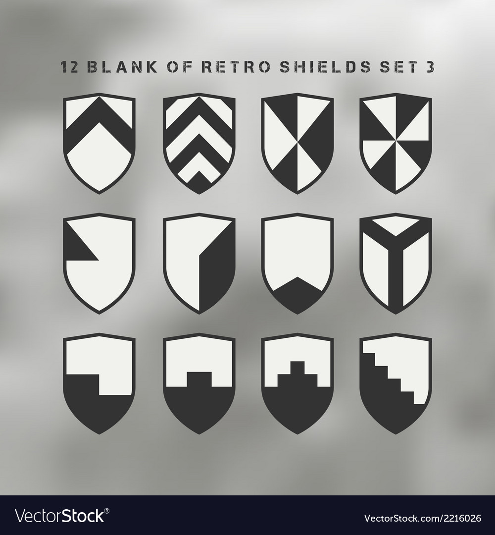 Set of shields black and white 3 vector   Price: 1 Credit (USD $1)