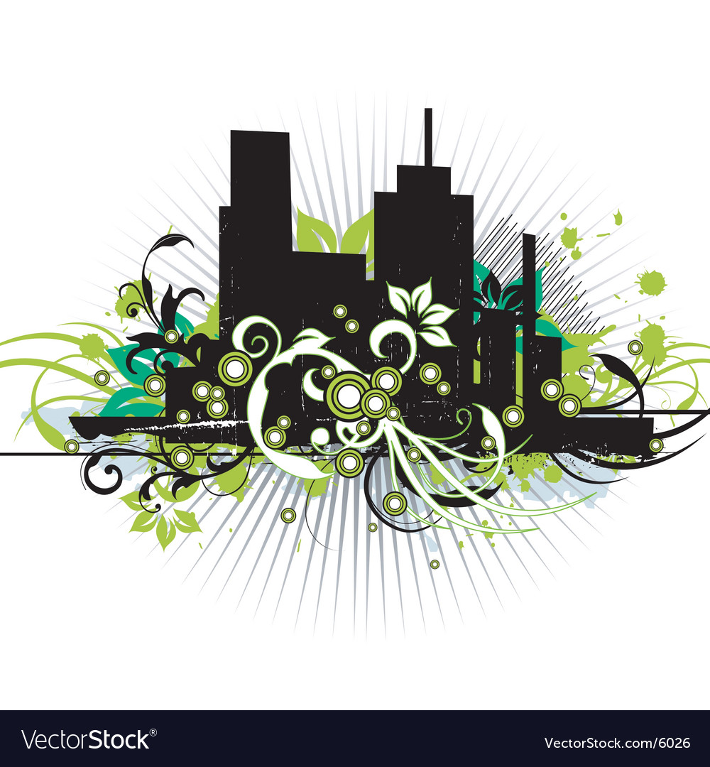 Urban floral grunge city vector | Price: 1 Credit (USD $1)