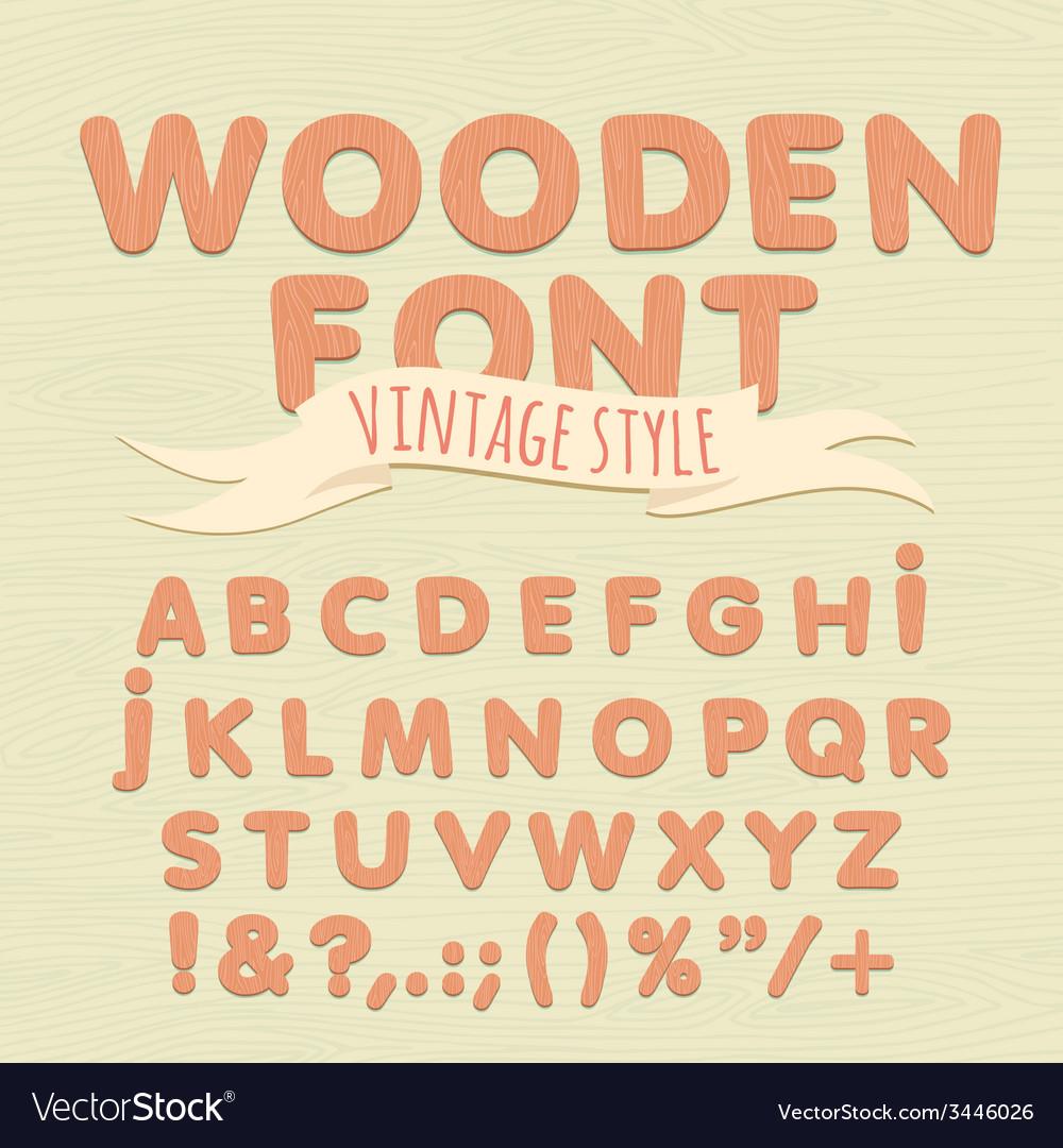 Vintage wooden alphabet flat style vector | Price: 1 Credit (USD $1)