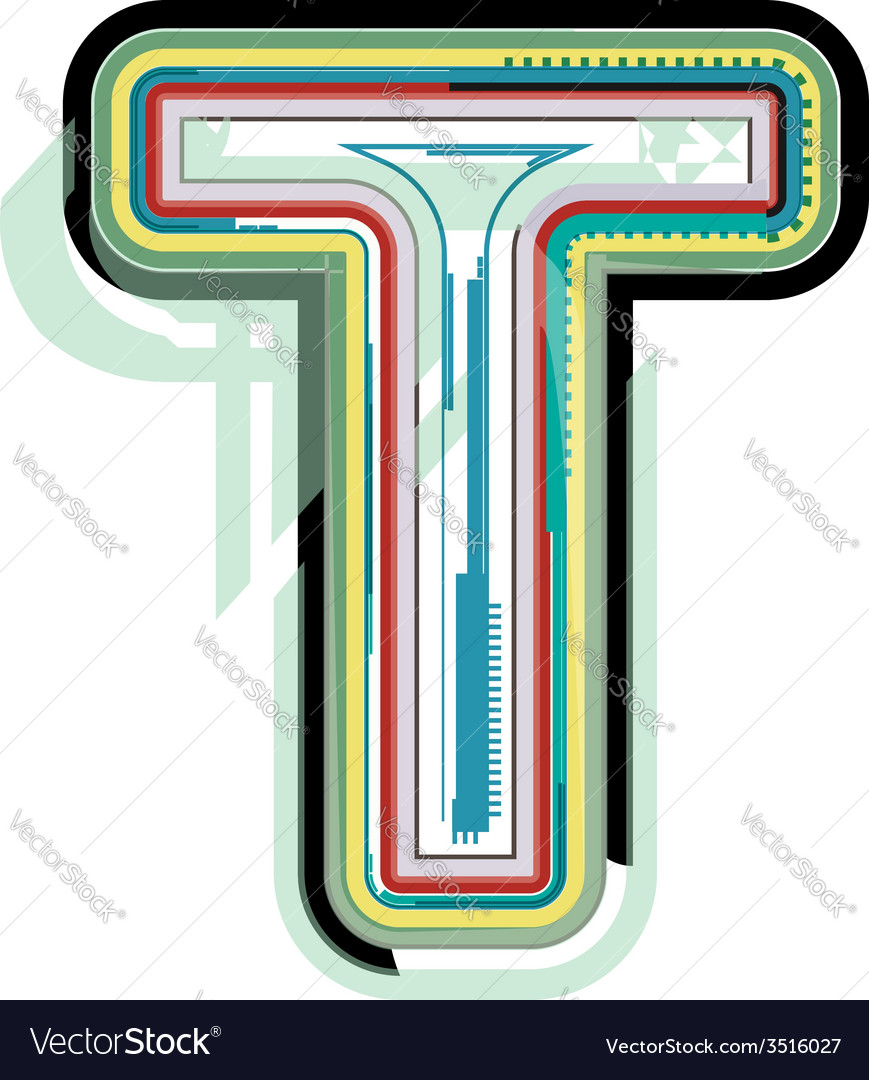 Abstract colorful letter t vector | Price: 1 Credit (USD $1)