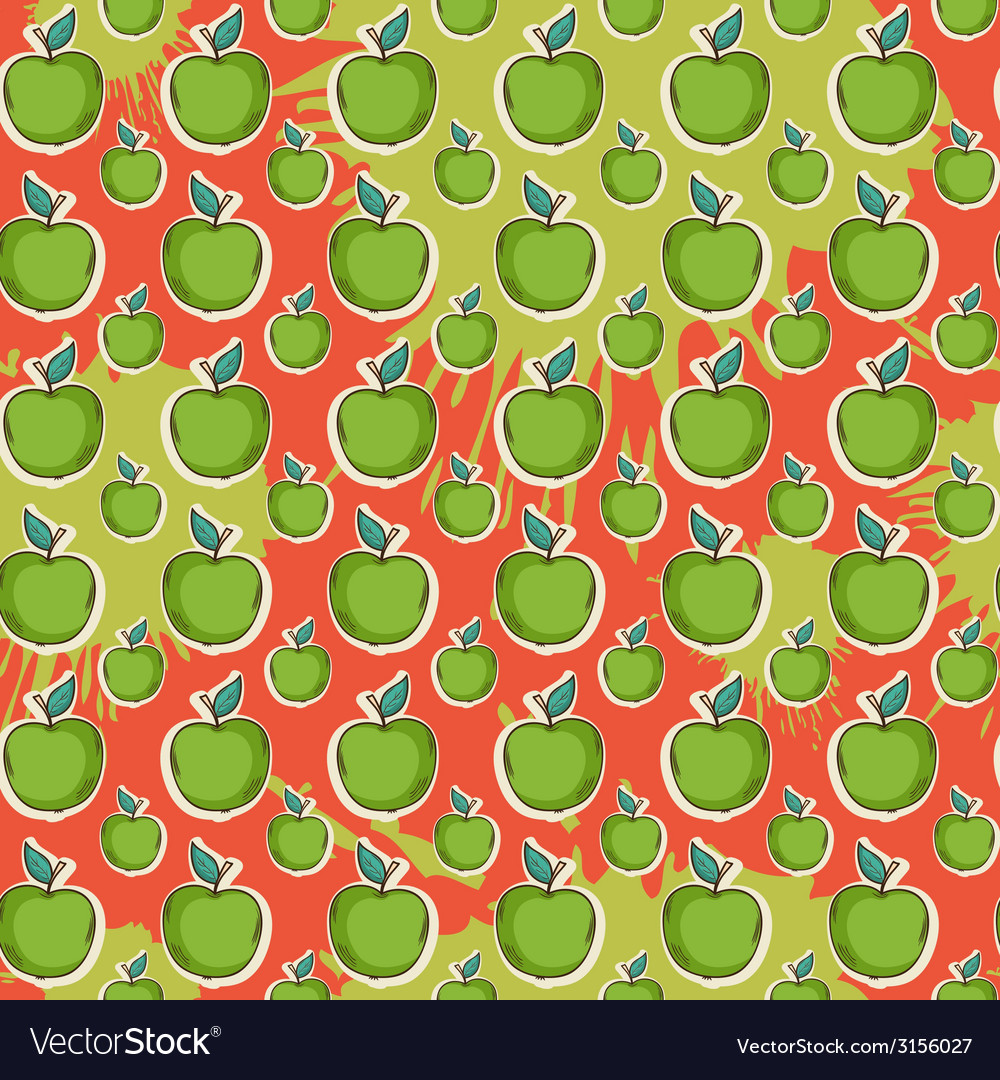 Big fresh apple pattern vector | Price: 1 Credit (USD $1)
