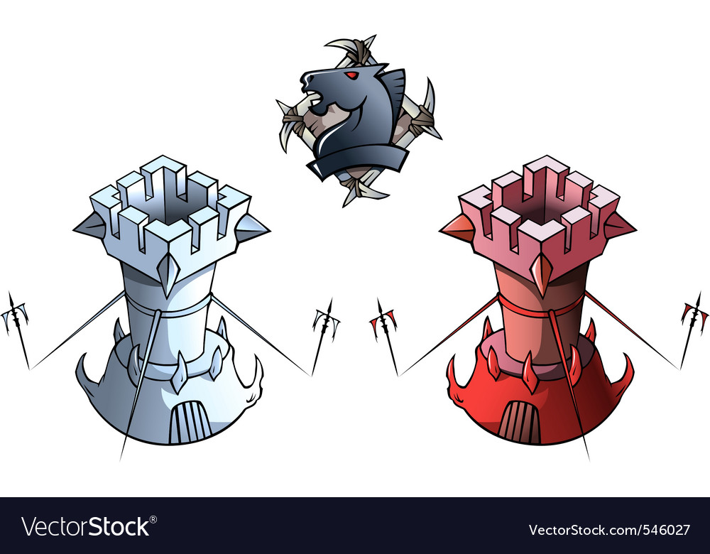 Chess set rooks vector | Price: 1 Credit (USD $1)