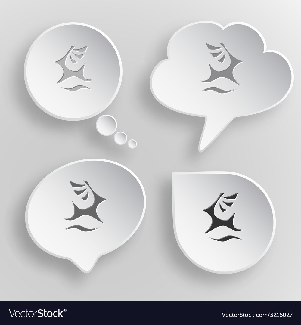 Deer white flat buttons on gray background vector | Price: 1 Credit (USD $1)