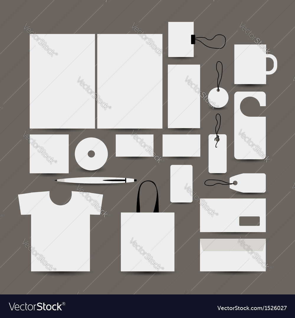 Empty design object folder bag label mug cards vector | Price: 1 Credit (USD $1)
