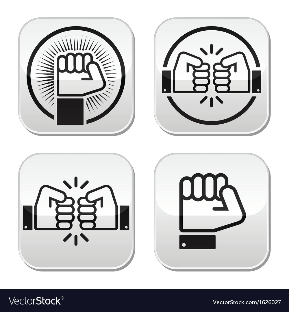 Fist fist bump buttons set vector | Price: 1 Credit (USD $1)