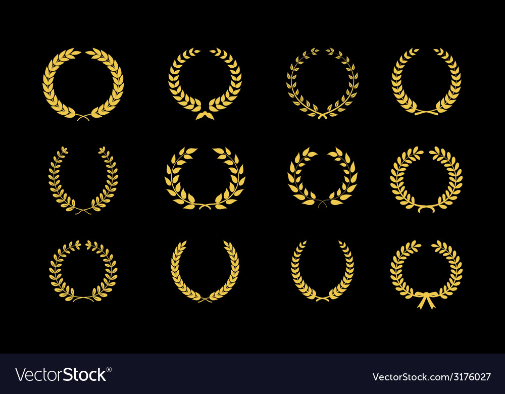 Gold laurel wheat floral and foliate wreaths and vector | Price: 1 Credit (USD $1)