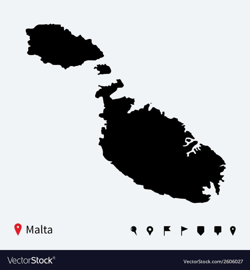 High detailed map of malta with navigation pins vector | Price: 1 Credit (USD $1)