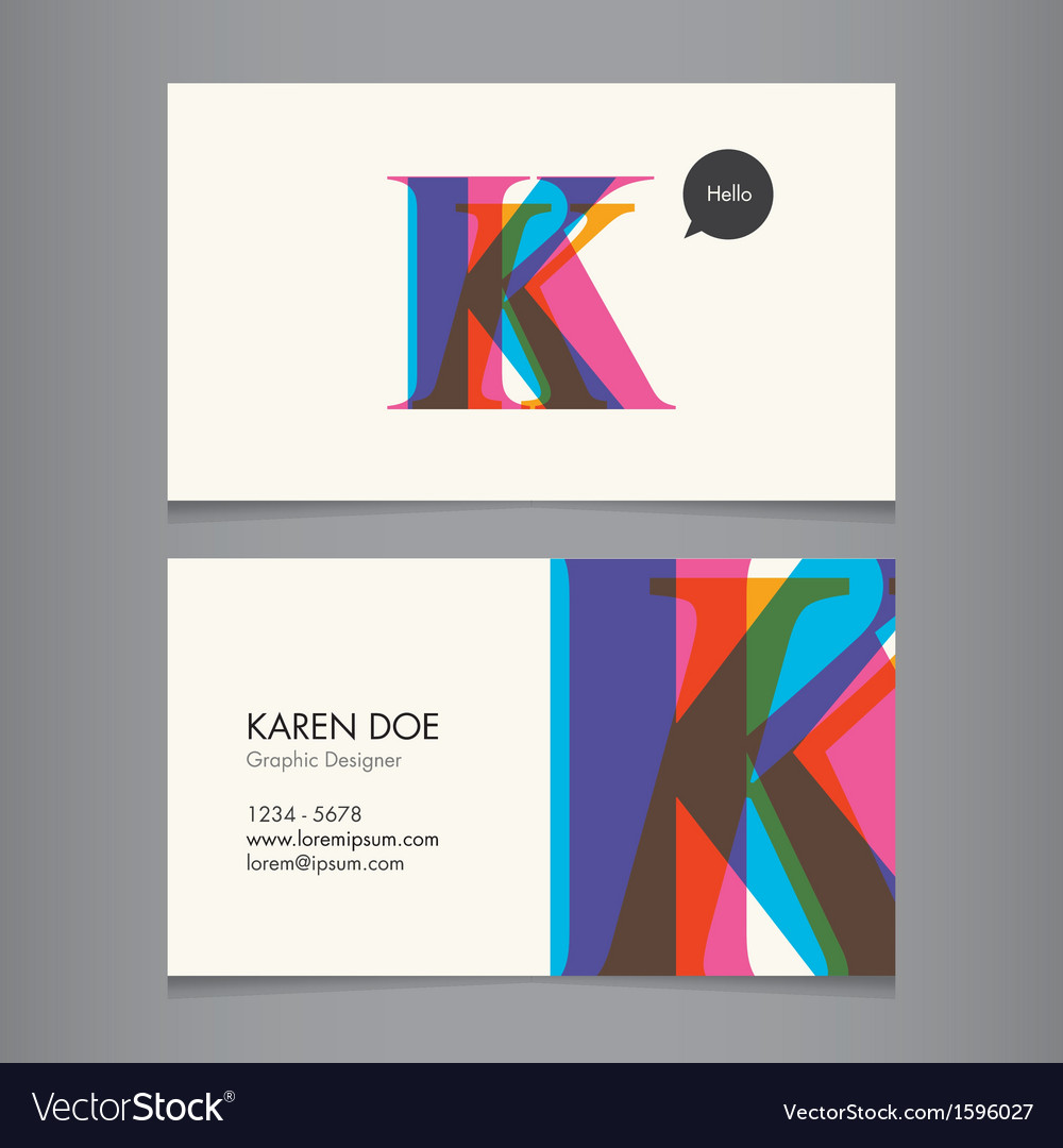 K business card vector | Price: 1 Credit (USD $1)