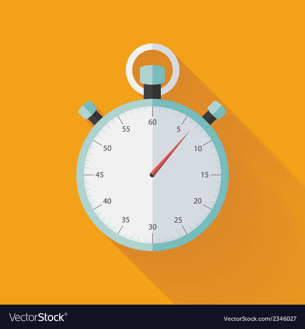 Mint flat stopwatch icon over orange vector | Price: 1 Credit (USD $1)