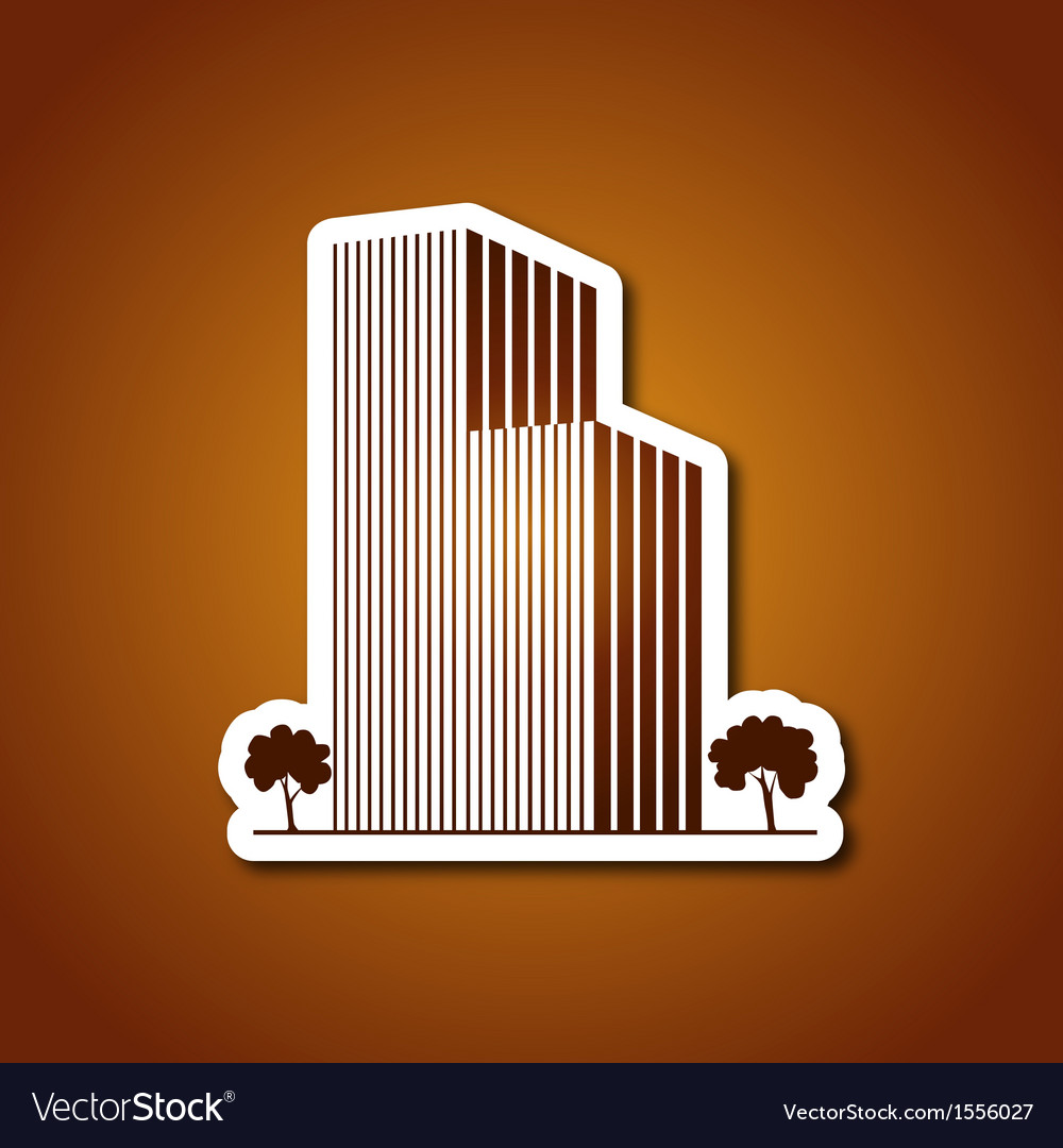 Paper buildings and trees over caramel vector | Price: 1 Credit (USD $1)