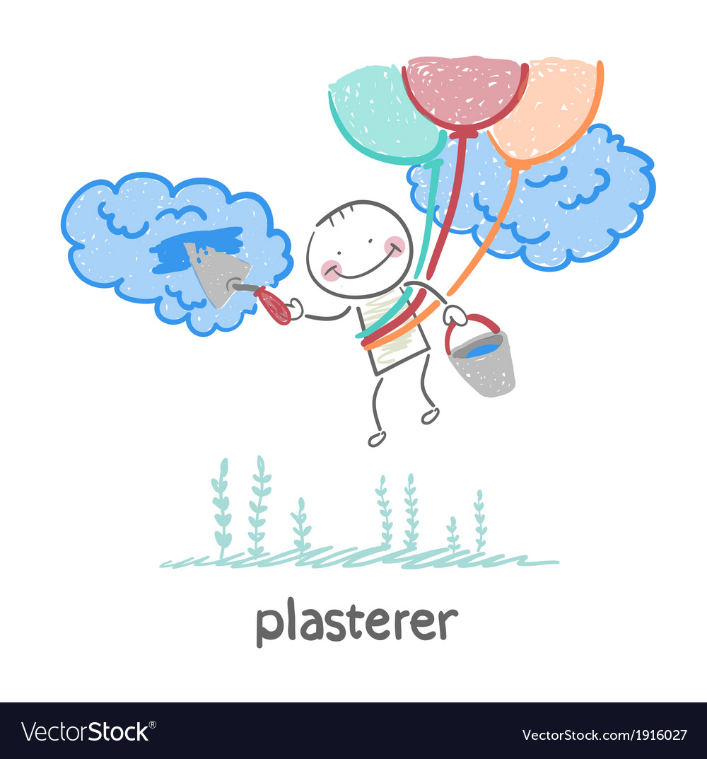 Plasterer flying balloons and works with cloud vector | Price: 1 Credit (USD $1)