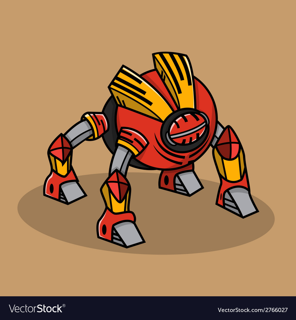 Red bugs robot vector | Price: 1 Credit (USD $1)