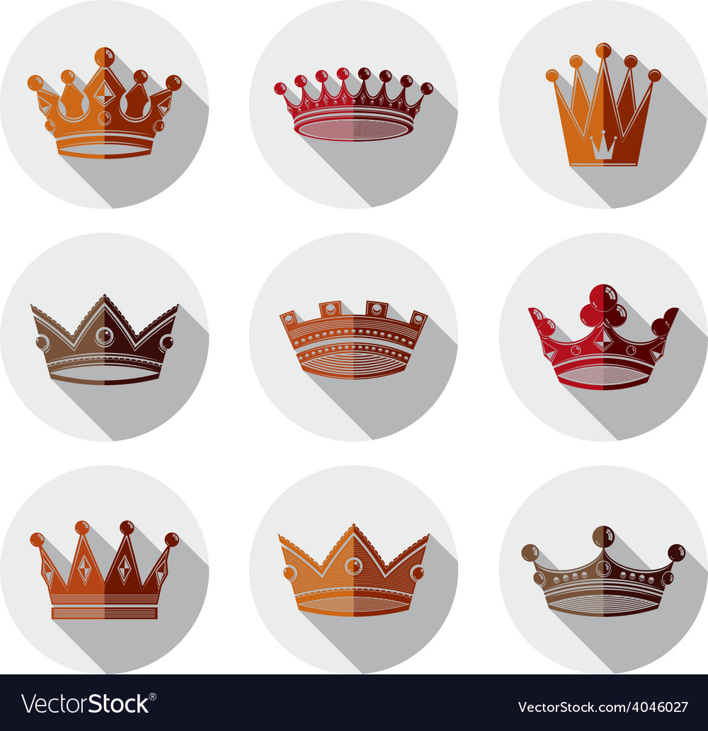Set of 3d golden royal crowns isolated majestic vector | Price: 1 Credit (USD $1)
